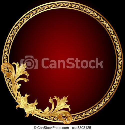 keret, motívum, karika, gold(en) - csp8303125