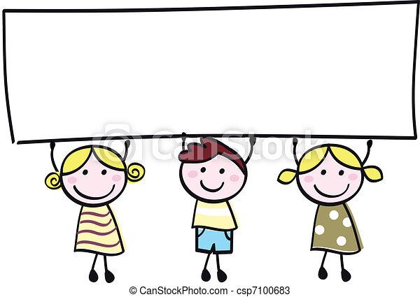 kevés, birtok, transzparens, boldog, üres, csinos, -, fiú, lány, tiszta, karikatúra, illustration. - csp7100683