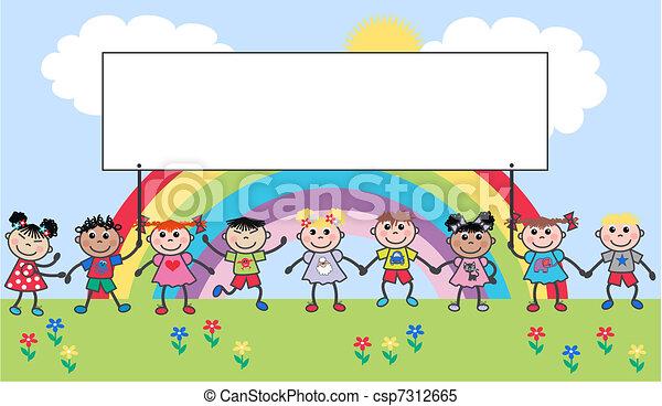 kevert, gyerekek, etnikai - csp7312665