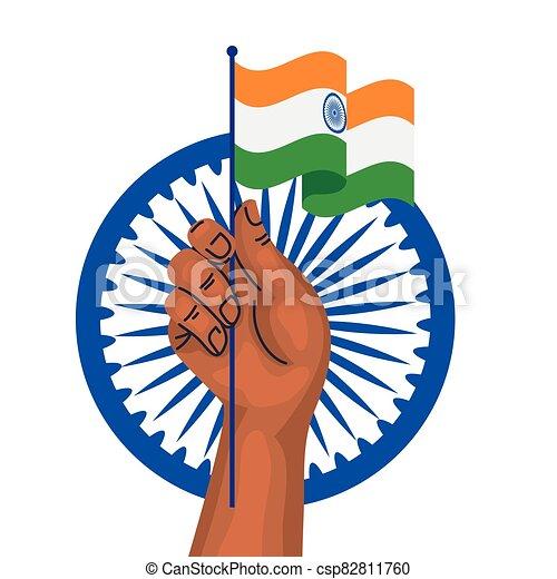 kezezés tol, háttér, india, indian lobogó, ashoka, fehér, kék, jelkép - csp82811760