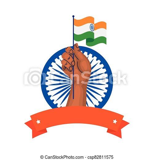kezezés tol, háttér, india, indian lobogó, ashoka, fehér, kék, jelkép - csp82811575