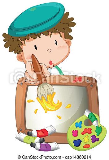 kicsi fiú, festmény - csp14380214