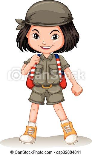 kicsi lány, hátizsák - csp32884841