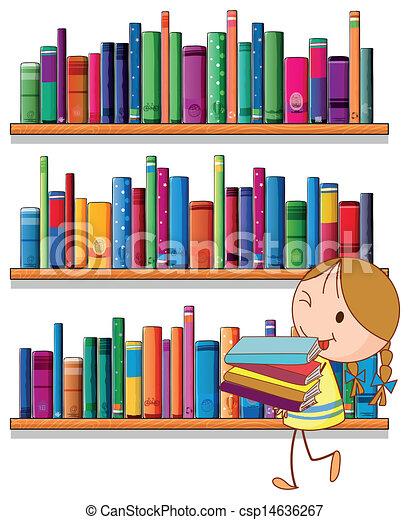 kicsi lány, könyvtár - csp14636267