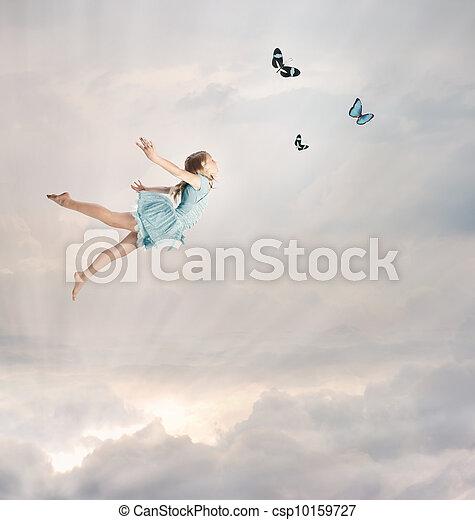 kicsi lány, repülés, félhomály - csp10159727