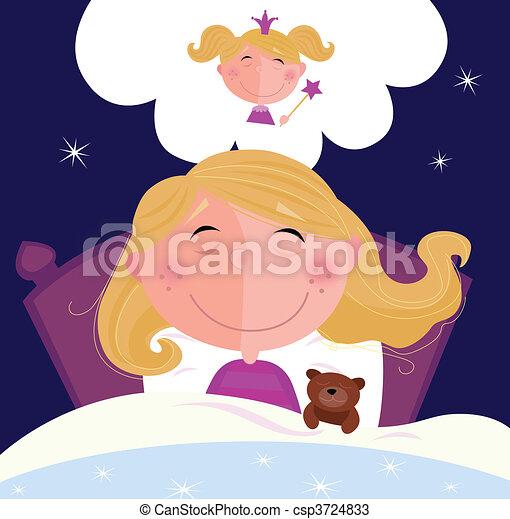 kicsi, leány, ábrándozás, alvás - csp3724833