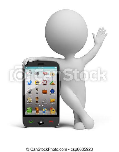 kicsi, smartphone, -, 3, emberek - csp6685920