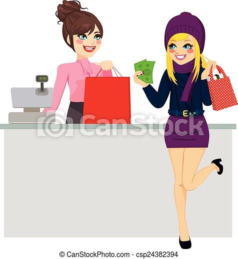 kiegyenlít, woman bevásárol, készpénz - csp24382394