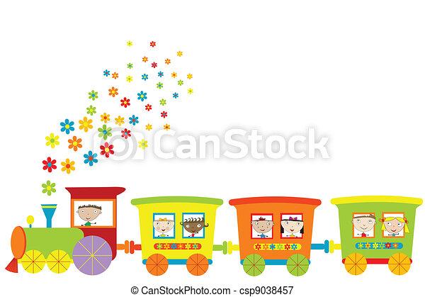 kiképez, gyerekek, boldog - csp9038457