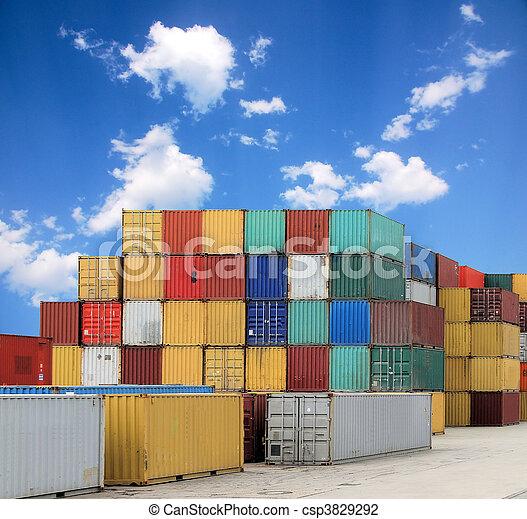 kikötő, teherárú tároló - csp3829292