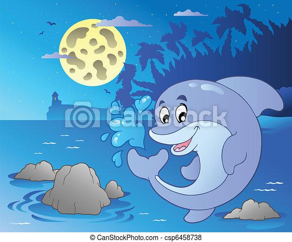 kilátás a tengerre, ugrás, delfin, éjszaka - csp6458738