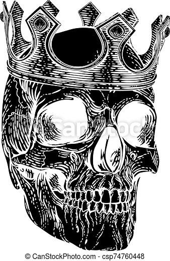 királyi, csontváz, koponya, emberi, király, fejtető - csp74760448