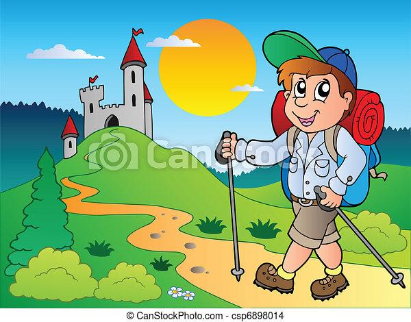 kiránduló, fiú, bástya, karikatúra - csp6898014