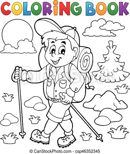 kiránduló, színezés, külső, könyv - csp46352345