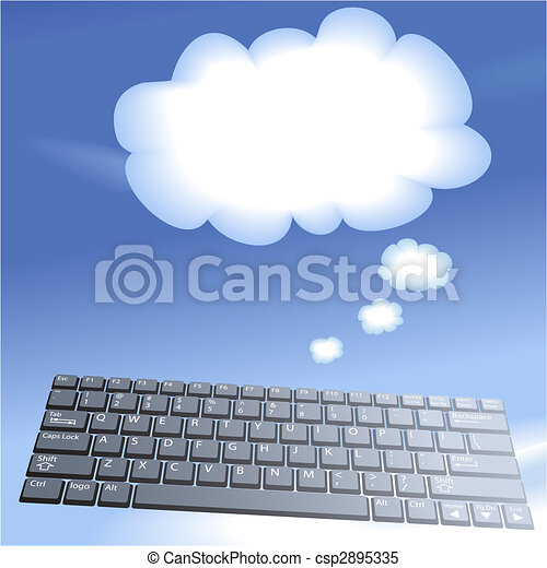 kiszámít, kulcsok, számítógép, háttér, úszó, buborék, gondol, felhő - csp2895335