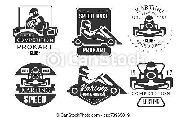 klub, állomás, vektor, versenyzés, karting, procart, monochrom, jutalom, állhatatos, jelvény, verseny, retro, elnevezés, ábra, szerelő - csp73965019