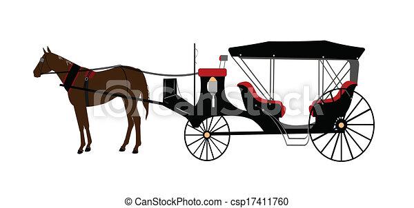 kocsi, húzott, ló - csp17411760