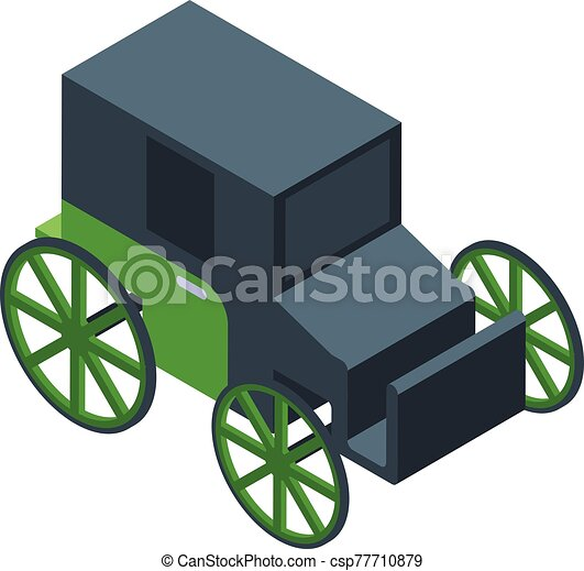 kocsi, ló, mód, ikon, isometric - csp77710879