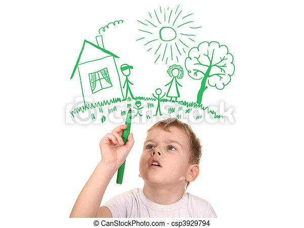 kollázs, akol, rajz, felt-tip, család, fiú, övé - csp3929794