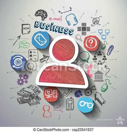 kollázs, e-commerce, háttér, ikonok - csp23541637