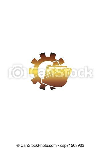 komp, bekapcsol, csónakázik, ikon - csp71503903