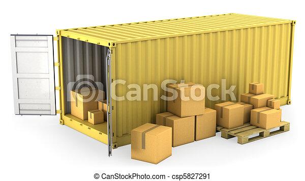 konténer, kinyitott, sárga, dobozok, sors, kartondoboz - csp5827291