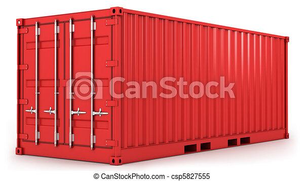 konténer, piros, rakomány, elszigetelt - csp5827555