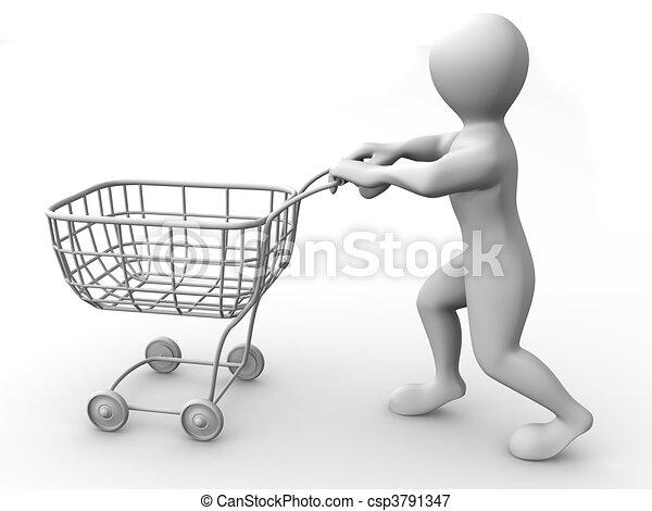 kosár, fogyasztó, ember - csp3791347