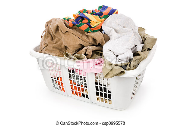 kosár, mosoda, öltözet, koszos - csp0995578