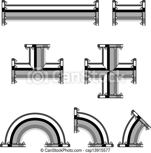 króm, csövek, vektor, karima - csp13915577
