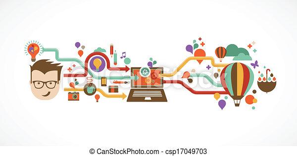 kreatív, infographic, tervezés, gondolat, újítás - csp17049703