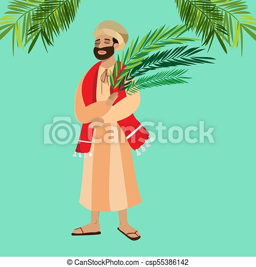 krisztus, belépés, ünnep, húsvét, emberek, zöld, ábra, ünneplés, jézus, jeruzsálem, vallás, vasárnap, vektor, pálma, köszöntések, ember, pálma, boldog, előbb - csp55386142