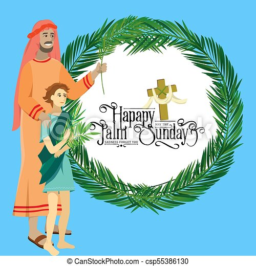 krisztus, belépés, ünnep, húsvét, emberek, zöld, ábra, ünneplés, jézus, jeruzsálem, vallás, vasárnap, vektor, pálma, köszöntések, kölyök, ember, pálma, boldog, előbb - csp55386130