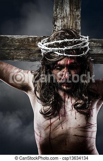 krisztus, fejtető, kereszt, jézus, kálváriadomb, tövis, ábrázolás, fehér - csp13634134