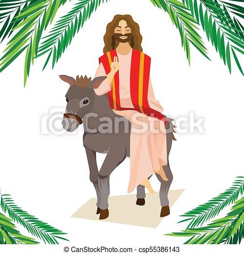 krisztus, szamár, ünnep, húsvét, boldog, zöld, ábra, belépés, ünneplés, jézus, jeruzsálem, vallás, vasárnap, vektor, pálma, köszöntések, ember, pálma, gördülni, előbb - csp55386143