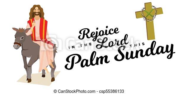 krisztus, szamár, ünnep, húsvét, boldog, zöld, ábra, belépés, ünneplés, jézus, jeruzsálem, vallás, vasárnap, vektor, pálma, köszöntések, ember, pálma, gördülni, előbb - csp55386133