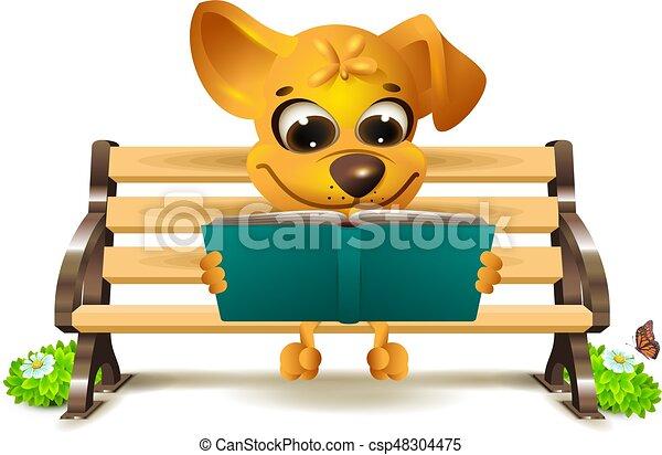 kutya, sárga, bírói szék, felolvas, könyv, őt ül - csp48304475