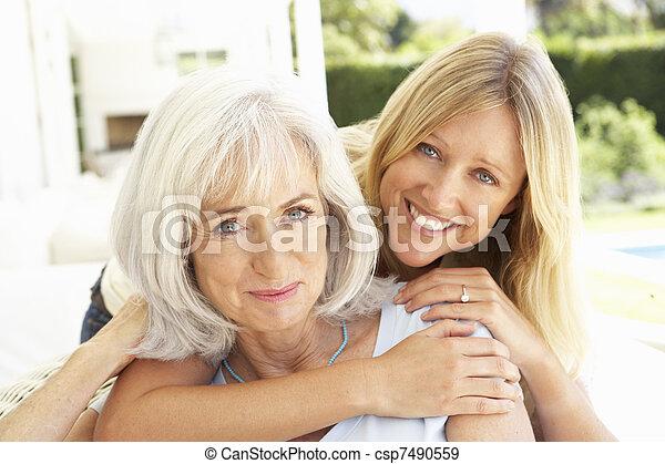 lány, bágyasztó, pamlag, felnőtt, anya, portré - csp7490559