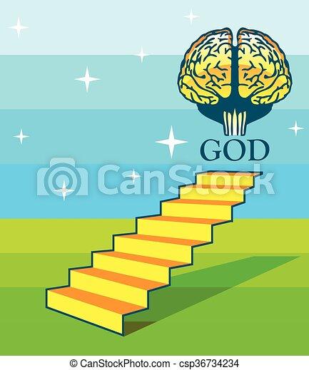 lépcsősor, agyonüt, művészet, isten - csp36734234