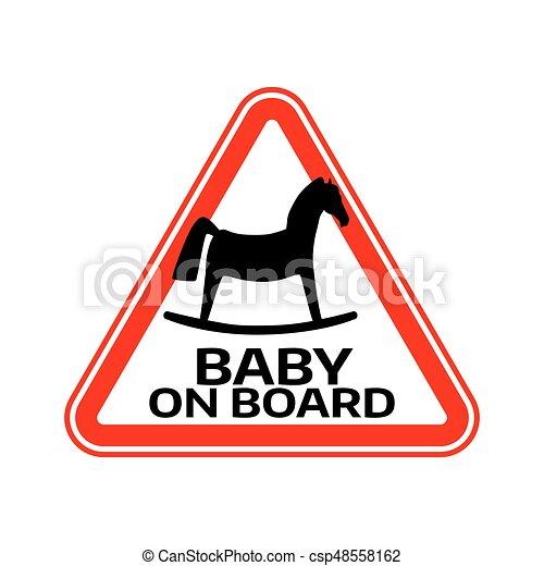 ló, árnykép, autó, böllér, aláír, háttér., bizottság, gyermek, csecsemő, háromszög, fehér, warning., piros - csp48558162