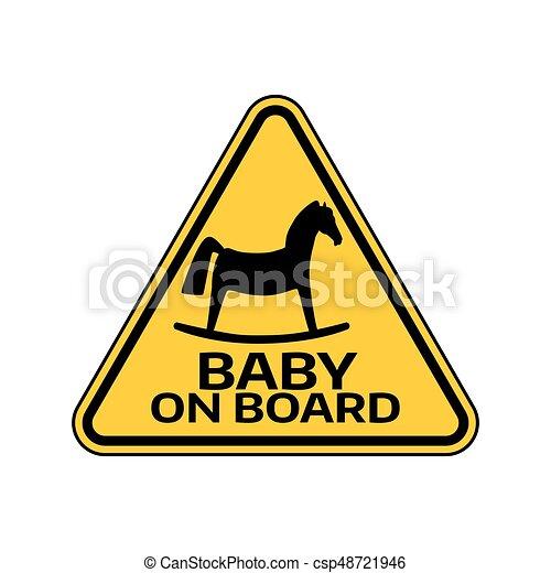 ló, árnykép, autó, böllér, sárga cégtábla, háttér., bizottság, gyermek, csecsemő, háromszög, fehér, warning. - csp48721946
