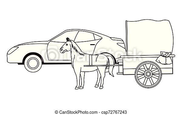 ló, autók, jármű, csapágyak, fekete, fehér - csp72767243