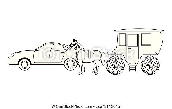 ló, autók, jármű, csapágyak, fekete, fehér - csp73112045