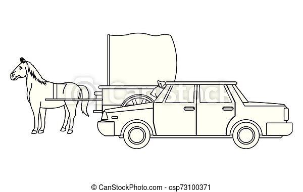 ló, autók, jármű, csapágyak, fekete, fehér - csp73100371