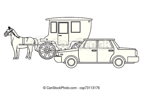 ló, autók, jármű, csapágyak, fekete, fehér - csp73113176