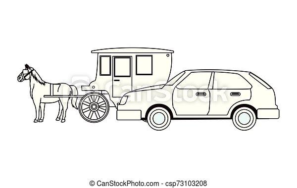 ló, autók, jármű, csapágyak, fekete, fehér - csp73103208