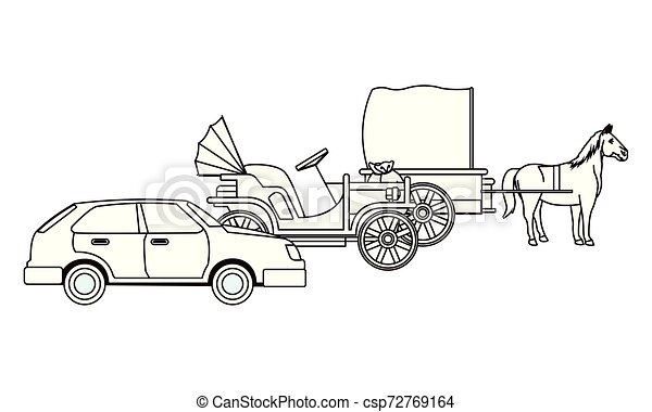 ló, classic autó, jármű, fekete, csapágyak, fehér - csp72769164