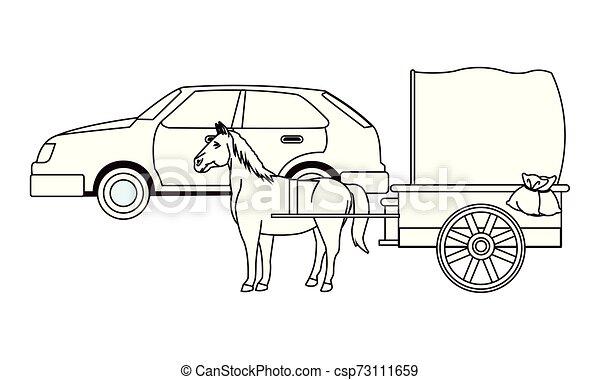 ló, classic autó, jármű, fekete, csapágyak, fehér - csp73111659