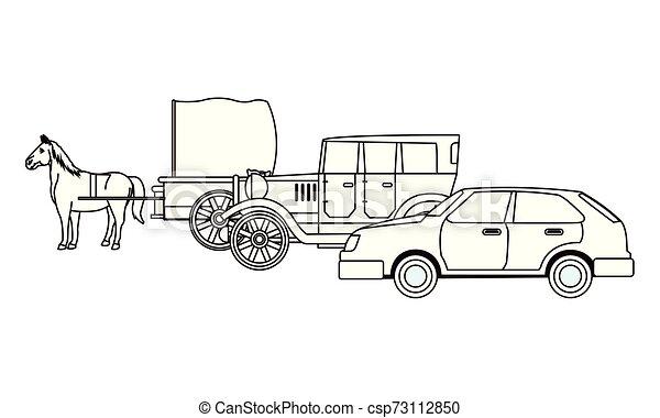 ló, classic autó, jármű, fekete, csapágyak, fehér - csp73112850