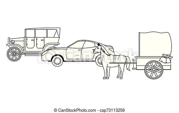 ló, classic autó, jármű, fekete, csapágyak, fehér - csp73113256